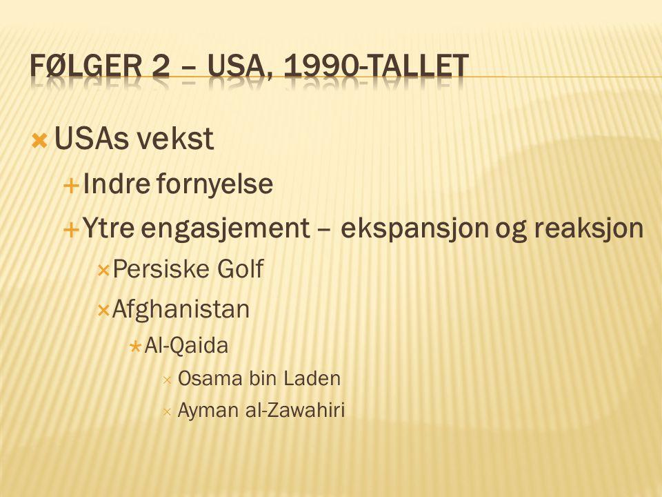  USAs vekst  Indre fornyelse  Ytre engasjement – ekspansjon og reaksjon  Persiske Golf  Afghanistan  Al-Qaida  Osama bin Laden  Ayman al-Zawah