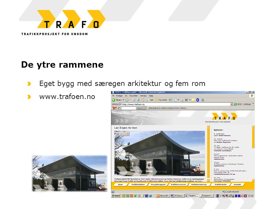 De ytre rammene Eget bygg med særegen arkitektur og fem rom www.trafoen.no Styringsgruppe