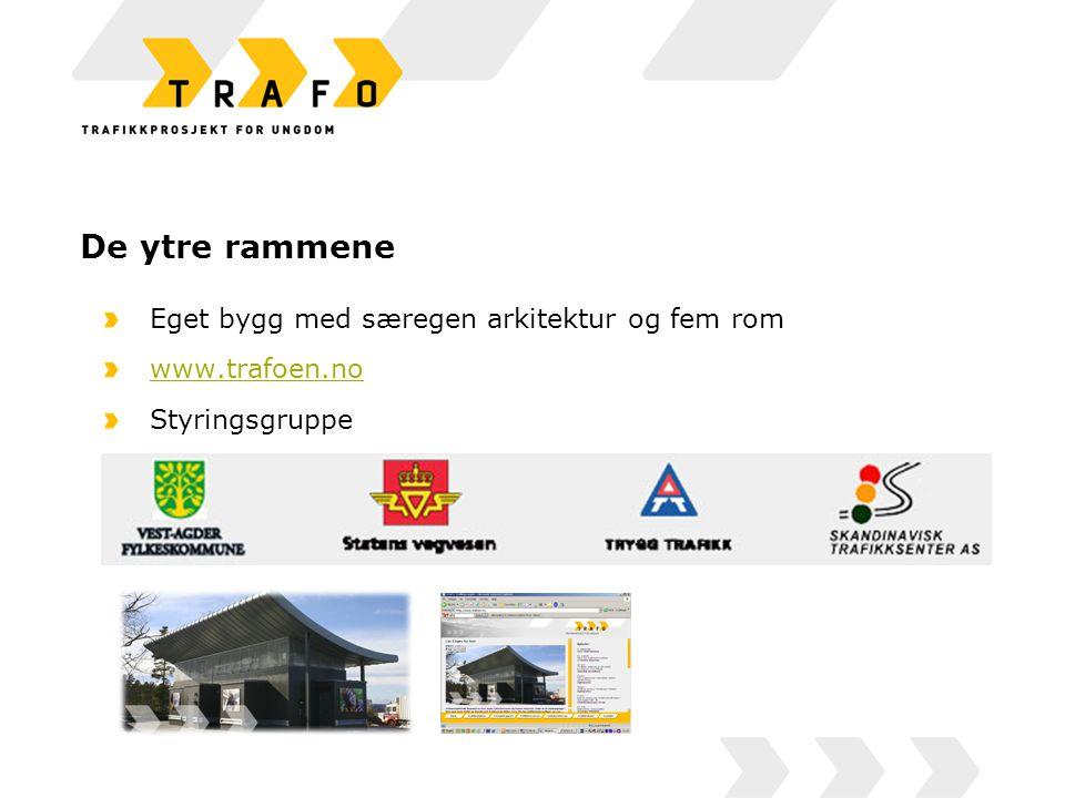 De ytre rammene Eget bygg med særegen arkitektur og fem rom www.trafoen.no Styringsgruppe En ansatt prosjektleder