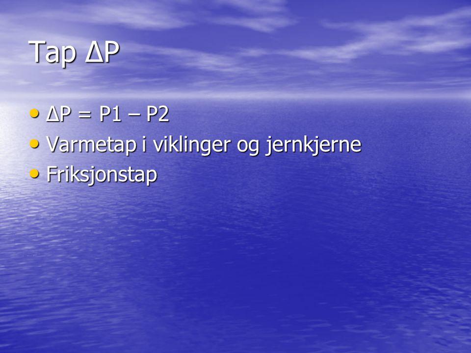 Tap ∆P ∆P = P1 – P2 ∆P = P1 – P2 Varmetap i viklinger og jernkjerne Varmetap i viklinger og jernkjerne Friksjonstap Friksjonstap