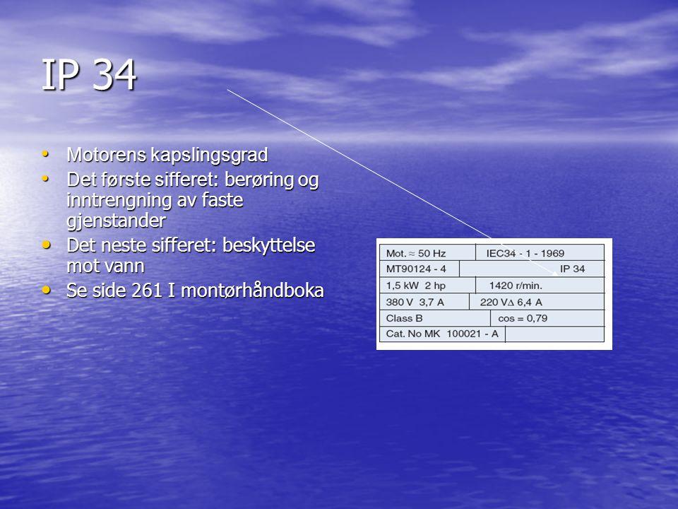 IP 34 Motorens kapslingsgrad Motorens kapslingsgrad Det første sifferet : berøring og inntrengning av faste gjenstander Det første sifferet : berøring