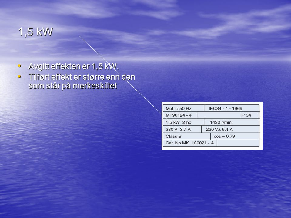 1,5 kW Avgitt effekten er 1,5 kW.Avgitt effekten er 1,5 kW.