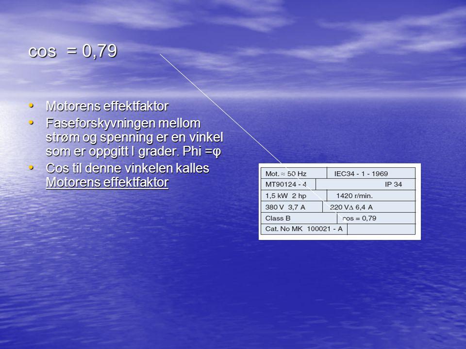cos = 0,79 Motorens effektfaktor Motorens effektfaktor Faseforskyvningen mellom strøm og spenning er en vinkel som er oppgitt I grader. Phi =φ Fasefor