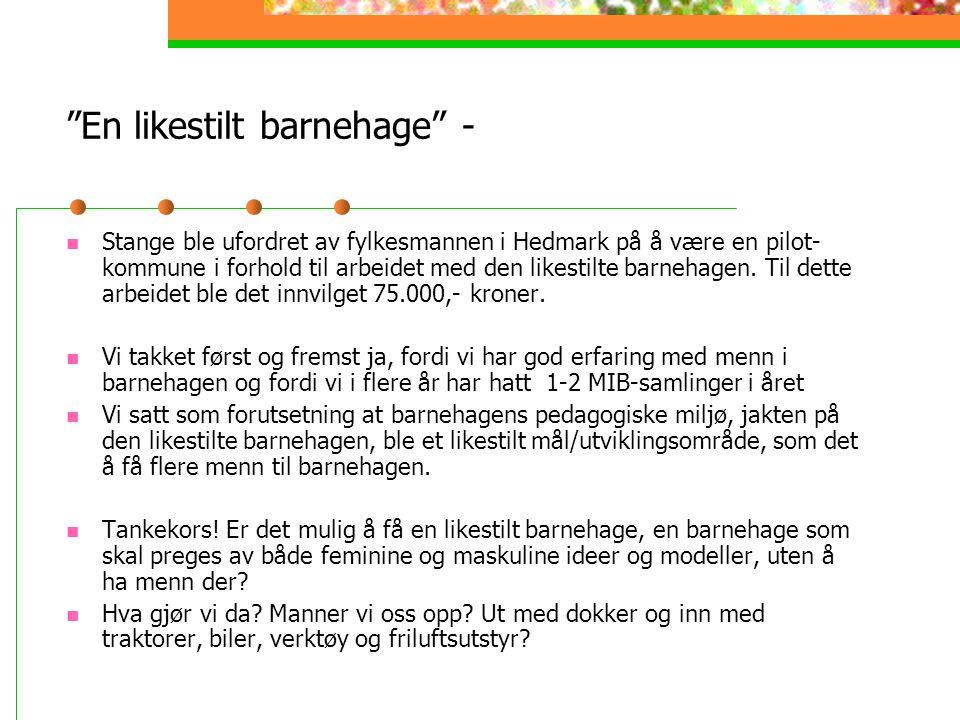En likestilt barnehage - Stange ble ufordret av fylkesmannen i Hedmark på å være en pilot- kommune i forhold til arbeidet med den likestilte barnehagen.