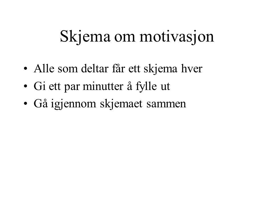Skjema om motivasjon Alle som deltar får ett skjema hver Gi ett par minutter å fylle ut Gå igjennom skjemaet sammen