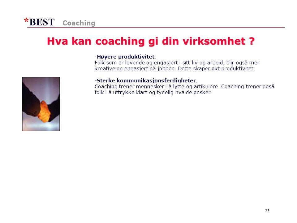 * BEST 25 Hva kan coaching gi din virksomhet .-Høyere produktivitet.