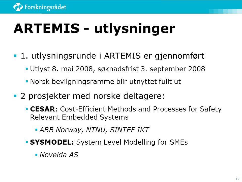 17 ARTEMIS - utlysninger  1. utlysningsrunde i ARTEMIS er gjennomført  Utlyst 8. mai 2008, søknadsfrist 3. september 2008  Norsk bevilgningsramme b