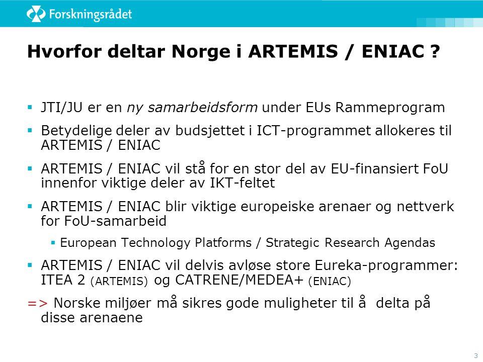 3 Hvorfor deltar Norge i ARTEMIS / ENIAC ?  JTI/JU er en ny samarbeidsform under EUs Rammeprogram  Betydelige deler av budsjettet i ICT-programmet a