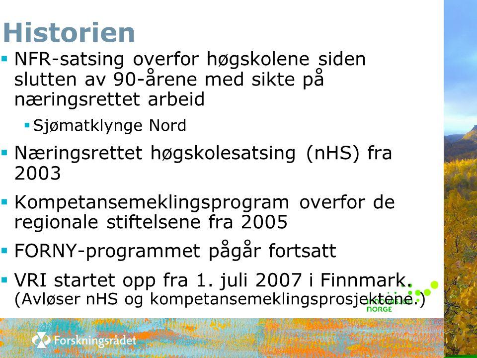 Historien  NFR-satsing overfor høgskolene siden slutten av 90-årene med sikte på næringsrettet arbeid  Sjømatklynge Nord  Næringsrettet høgskolesat