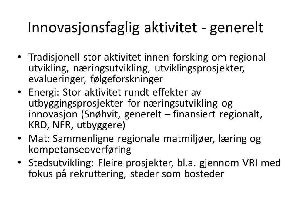 Innovasjonsfaglig aktivitet - generelt Tradisjonell stor aktivitet innen forsking om regional utvikling, næringsutvikling, utviklingsprosjekter, evalueringer, følgeforskninger Energi: Stor aktivitet rundt effekter av utbyggingsprosjekter for næringsutvikling og innovasjon (Snøhvit, generelt – finansiert regionalt, KRD, NFR, utbyggere) Mat: Sammenligne regionale matmiljøer, læring og kompetanseoverføring Stedsutvikling: Fleire prosjekter, bl.a.