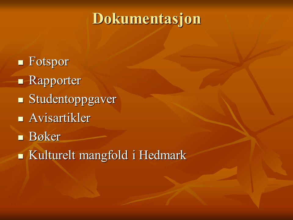 Dokumentasjon Fotspor Fotspor Rapporter Rapporter Studentoppgaver Studentoppgaver Avisartikler Avisartikler Bøker Bøker Kulturelt mangfold i Hedmark Kulturelt mangfold i Hedmark