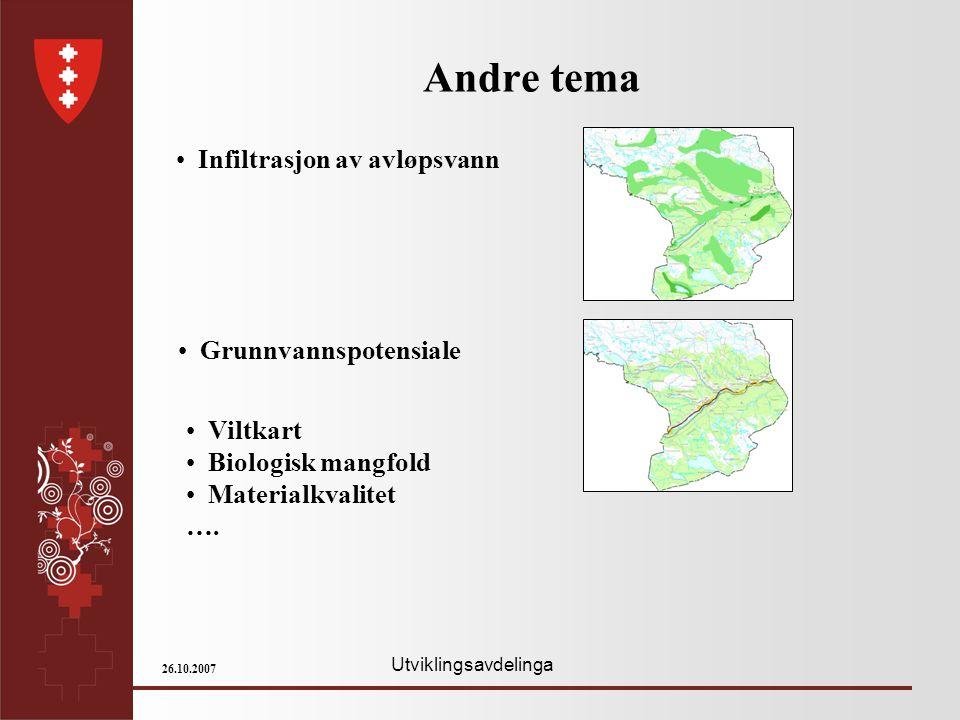 Utviklingsavdelinga 26.10.2007 Andre tema Infiltrasjon av avløpsvann Viltkart Biologisk mangfold Materialkvalitet …. Grunnvannspotensiale