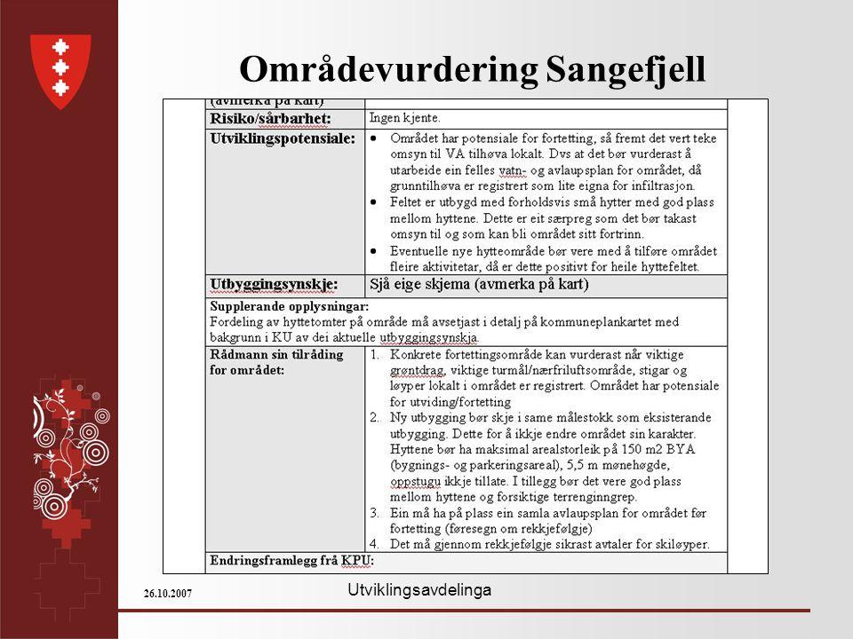 Utviklingsavdelinga 26.10.2007 Områdevurdering Sangefjell