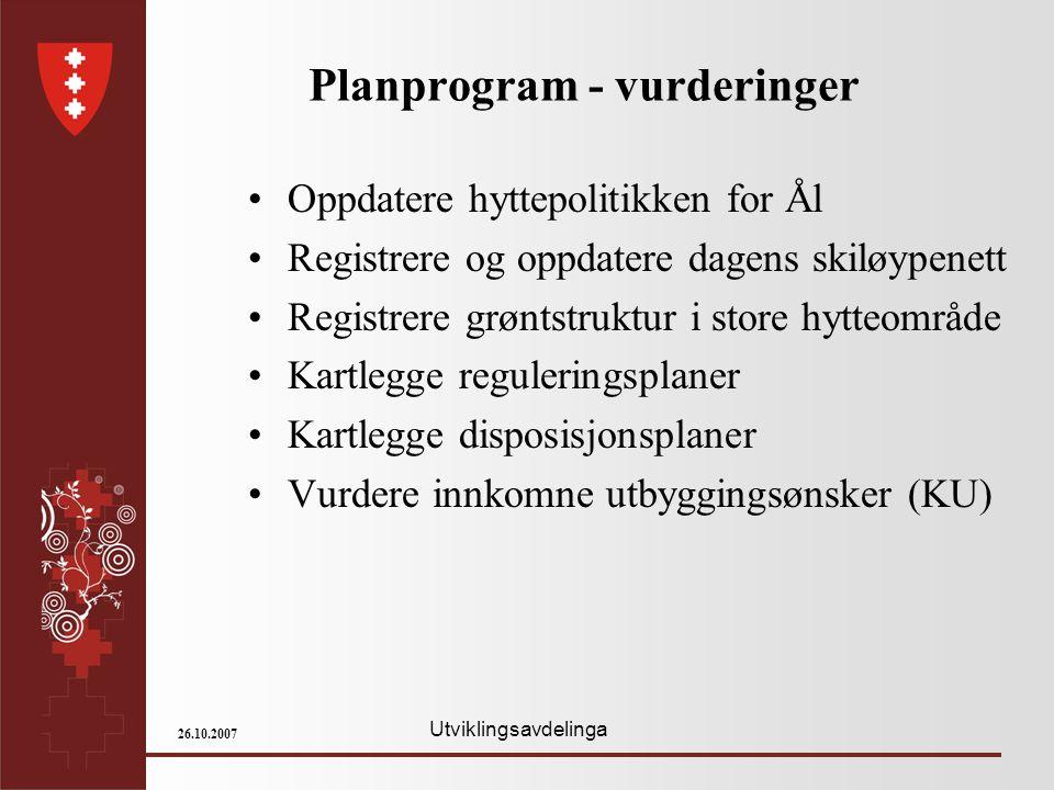 Utviklingsavdelinga 26.10.2007 Planprogram - vurderinger Oppdatere hyttepolitikken for Ål Registrere og oppdatere dagens skiløypenett Registrere grønt
