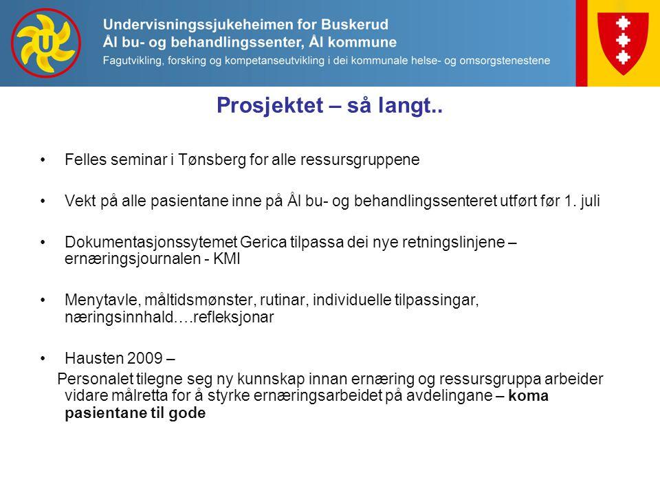 Prosjektet – så langt.. Felles seminar i Tønsberg for alle ressursgruppene Vekt på alle pasientane inne på Ål bu- og behandlingssenteret utført før 1.