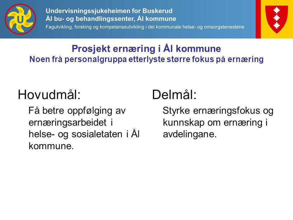 Prosjekt ernæring i Ål kommune Noen frå personalgruppa etterlyste større fokus på ernæring Hovudmål: Få betre oppfølging av ernæringsarbeidet i helse- og sosialetaten i Ål kommune.
