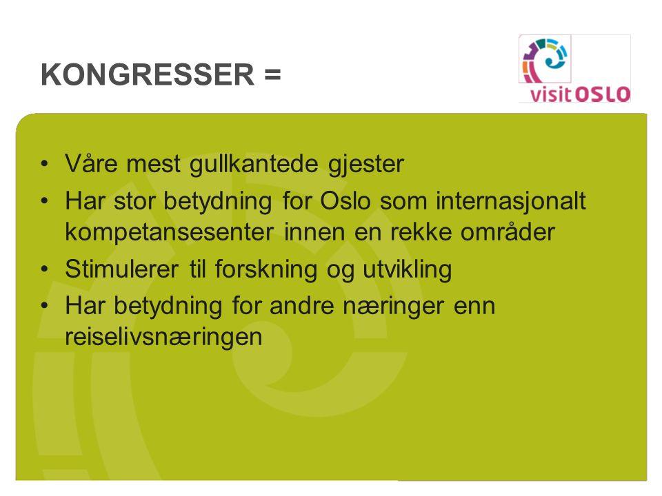 KONGRESSER = Våre mest gullkantede gjester Har stor betydning for Oslo som internasjonalt kompetansesenter innen en rekke områder Stimulerer til forsk