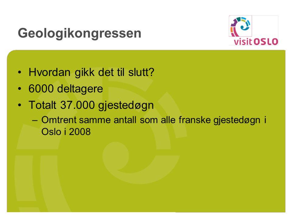Geologikongressen Hvordan gikk det til slutt? 6000 deltagere Totalt 37.000 gjestedøgn –Omtrent samme antall som alle franske gjestedøgn i Oslo i 2008