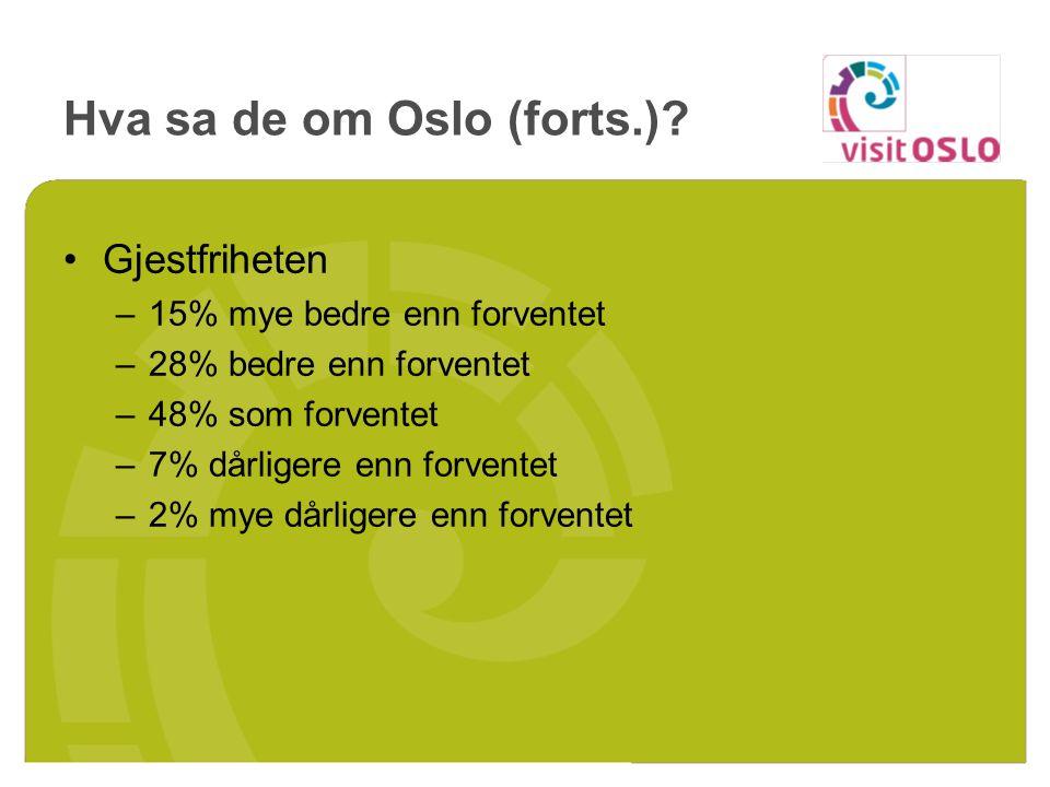 Serveringstilbudet/måltider –5% mye bedre enn forventet –15% bedre enn forventet –48% som forventet –25% dårligere enn forventet –7% mye dårligere enn forventet Hva sa de om Oslo (forts.)?