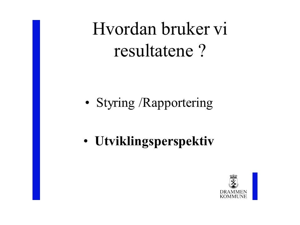 Hvordan bruker vi resultatene Styring /Rapportering Utviklingsperspektiv