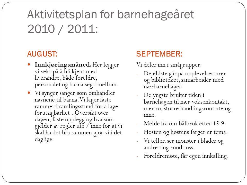 Aktivitetsplan for barnehageåret 2010 / 2011: AUGUST:SEPTEMBER: Innkjøringsmåned. Her legger vi vekt på å bli kjent med hverandre, både foreldre, pers