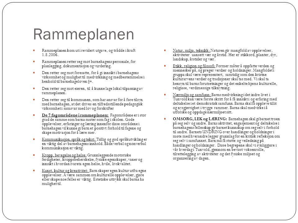 Rammeplanen Rammeplanen kom ut i revidert utgave, og trådde i kraft 1.8.2006. Rammeplanen retter seg mot barnehagens personale, for planlegging, dokum