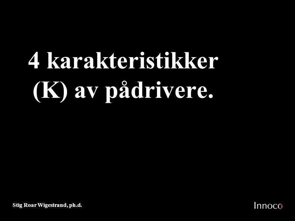 Stig Roar Wigestrand, ph.d. 4 karakteristikker (K) av pådrivere.