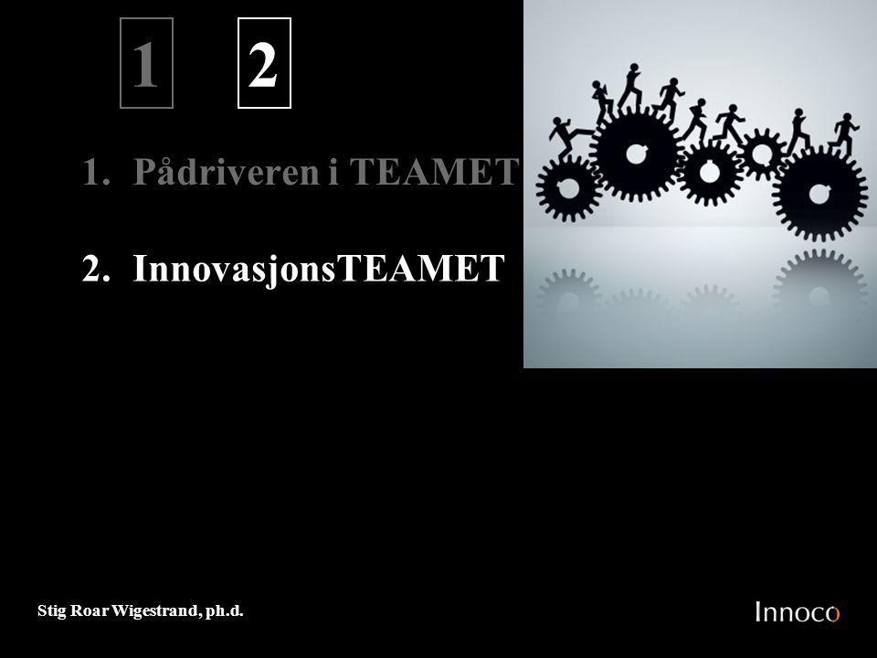 Stig Roar Wigestrand, ph.d. 1. Pådriveren i TEAMET 1 2.InnovasjonsTEAMET 2 M 0