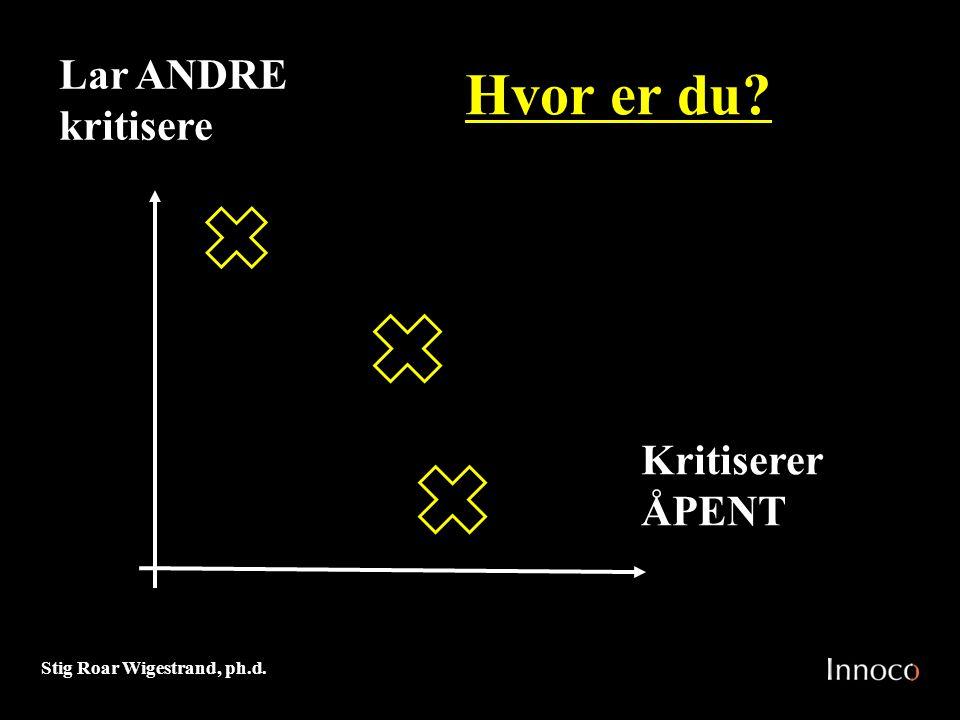 Stig Roar Wigestrand, ph.d. Hvor er du? Lar ANDRE kritisere Kritiserer ÅPENT