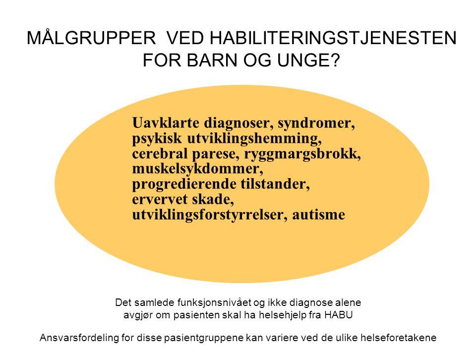 MÅLGRUPPER VED HABILITERINGSTJENESTEN FOR BARN OG UNGE? Uavklarte diagnoser, syndromer, psykisk utviklingshemming, cerebral parese, ryggmargsbrokk, mu