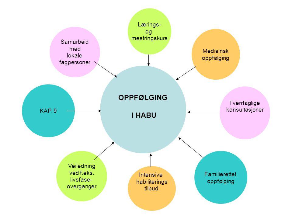 OPPFØLGING I HABU Lærings- og mestringskurs Tverrfaglige konsultasjoner Intensive habiliterings tilbud Familierettet oppfølging Veiledning ved f.eks.