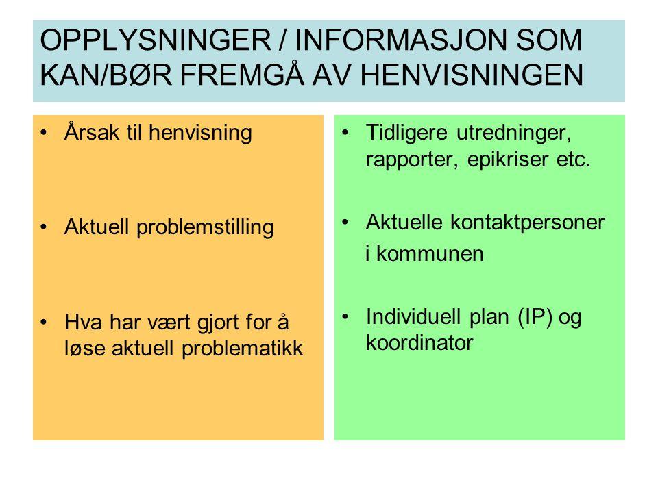 OPPLYSNINGER / INFORMASJON SOM KAN/BØR FREMGÅ AV HENVISNINGEN Årsak til henvisning Aktuell problemstilling Hva har vært gjort for å løse aktuell probl