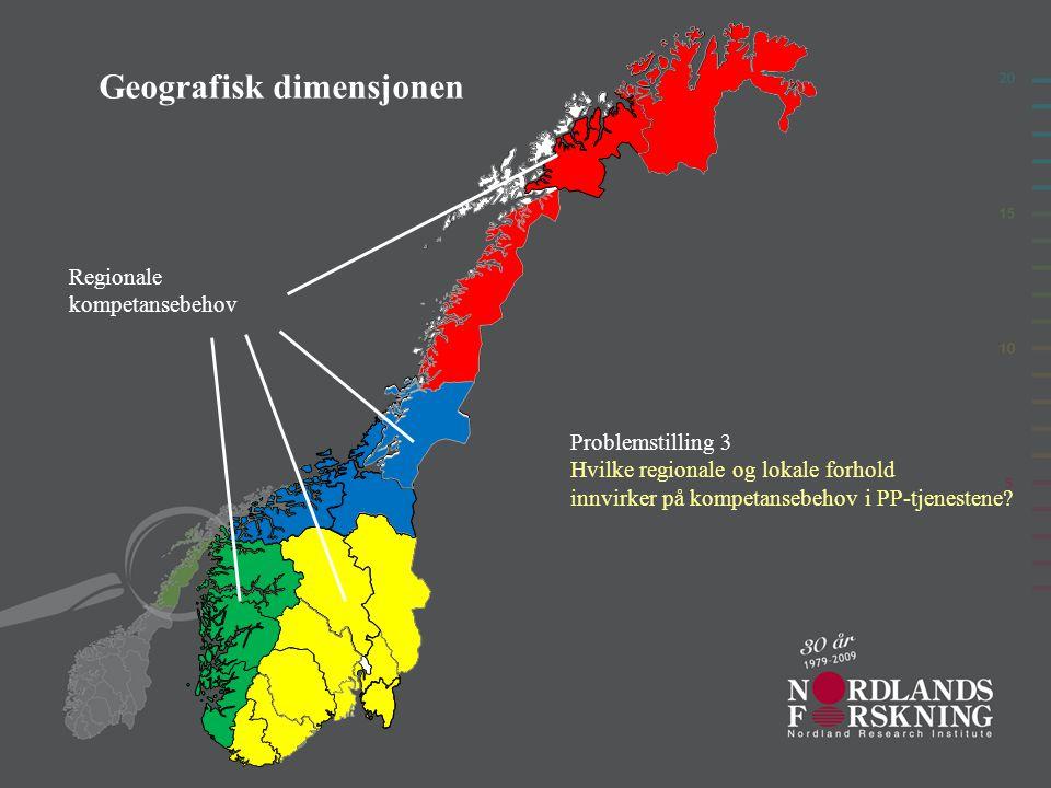 Geografisk dimensjonen Regionale kompetansebehov Problemstilling 3 Hvilke regionale og lokale forhold innvirker på kompetansebehov i PP-tjenestene?
