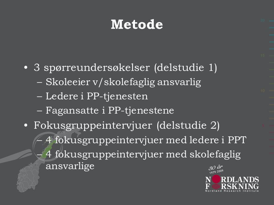 Metode 3 spørreundersøkelser (delstudie 1) –Skoleeier v/skolefaglig ansvarlig –Ledere i PP-tjenesten –Fagansatte i PP-tjenestene Fokusgruppeintervjuer (delstudie 2) –4 fokusgruppeintervjuer med ledere i PPT –4 fokusgruppeintervjuer med skolefaglig ansvarlige