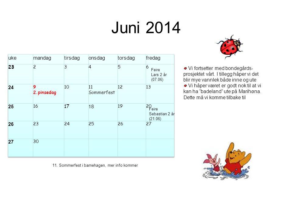 Juni 2014 Feire Lars 2 år (07.06) Vi fortsetter med bondegårds- prosjektet vårt. I tillegg håper vi det blir mye vannlek både inne og ute Vi håper vær