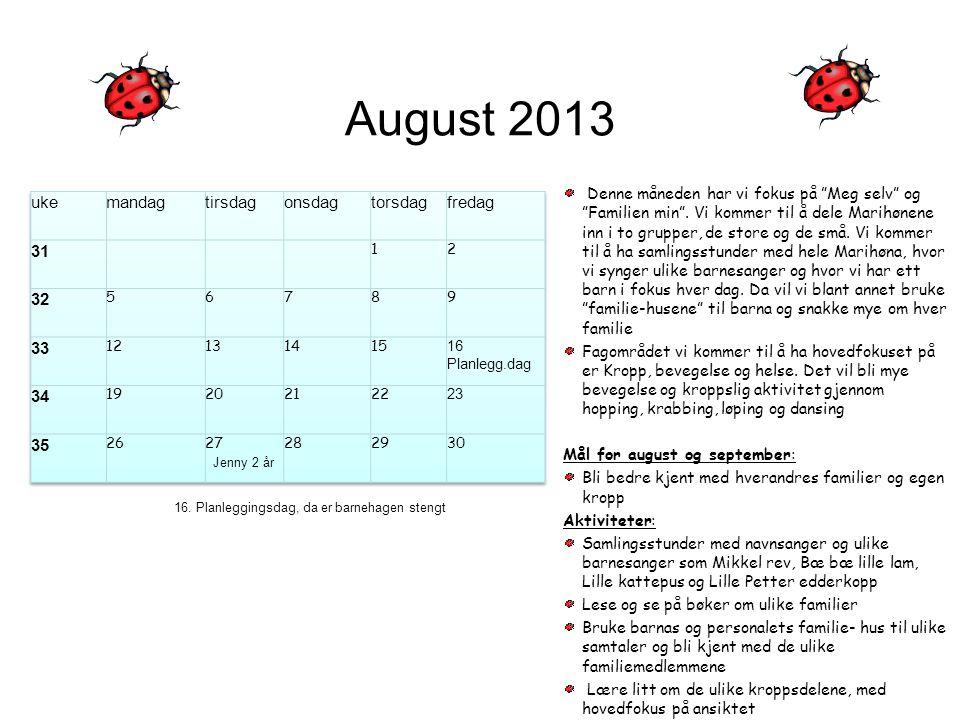 """August 2013 Denne måneden har vi fokus på """"Meg selv"""" og """"Familien min"""". Vi kommer til å dele Marihønene inn i to grupper, de store og de små. Vi komme"""