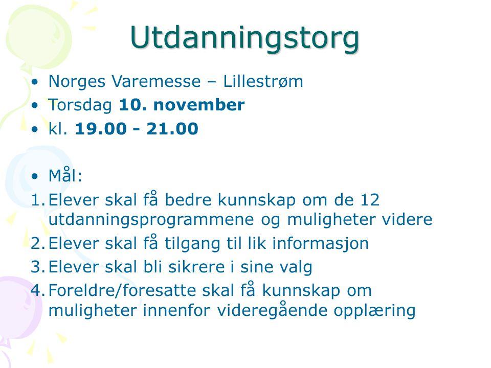 Utdanningstorg Norges Varemesse – Lillestrøm Torsdag 10.