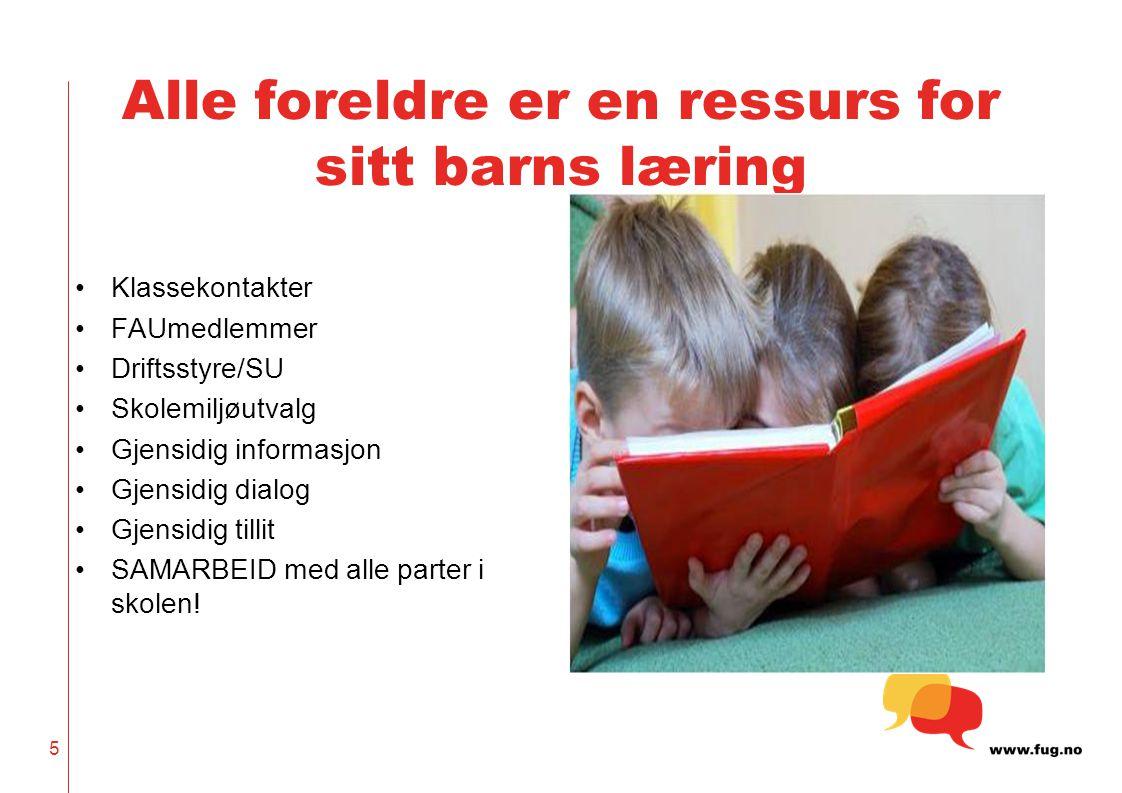 5 Alle foreldre er en ressurs for sitt barns læring Klassekontakter FAUmedlemmer Driftsstyre/SU Skolemiljøutvalg Gjensidig informasjon Gjensidig dialo