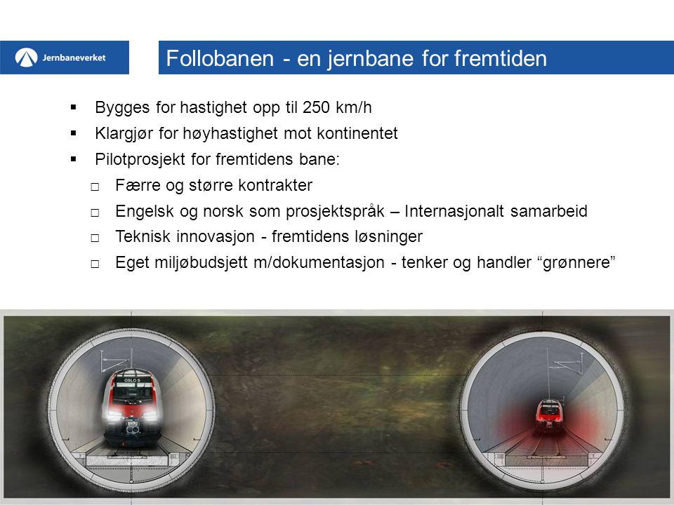  Bygges for hastighet opp til 250 km/h  Klargjør for høyhastighet mot kontinentet  Pilotprosjekt for fremtidens bane: □Færre og større kontrakter □Engelsk og norsk som prosjektspråk – Internasjonalt samarbeid □Teknisk innovasjon - fremtidens løsninger □Eget miljøbudsjett m/dokumentasjon - tenker og handler grønnere Follobanen - en jernbane for fremtiden
