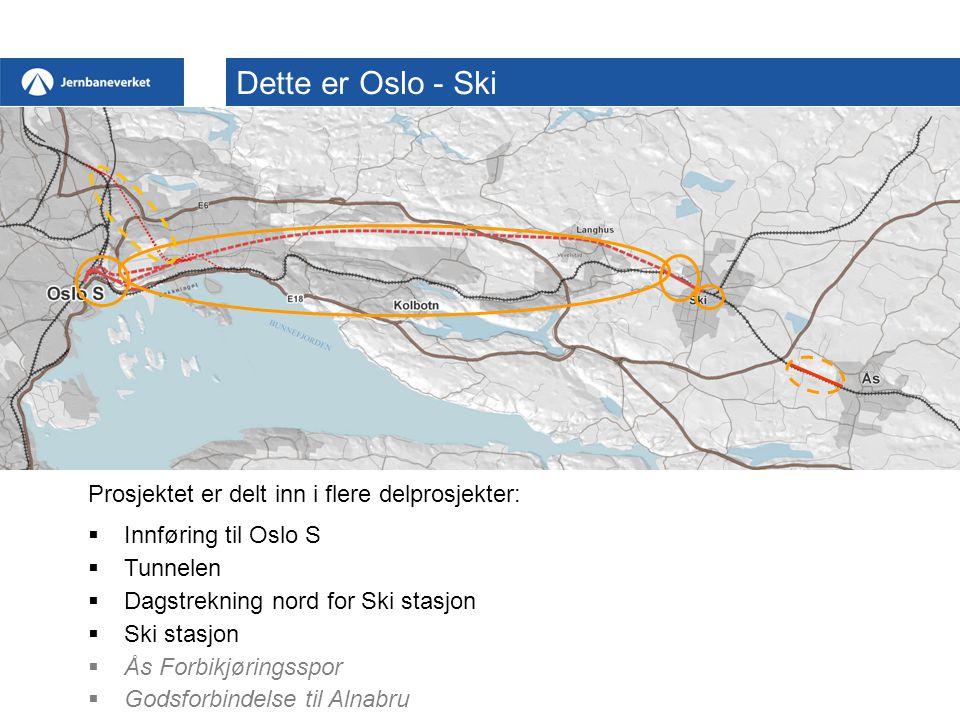 Innføring til Oslo S  Tunnelen  Dagstrekning nord for Ski stasjon  Ski stasjon  Ås Forbikjøringsspor  Godsforbindelse til Alnabru Dette er Oslo - Ski Prosjektet er delt inn i flere delprosjekter: