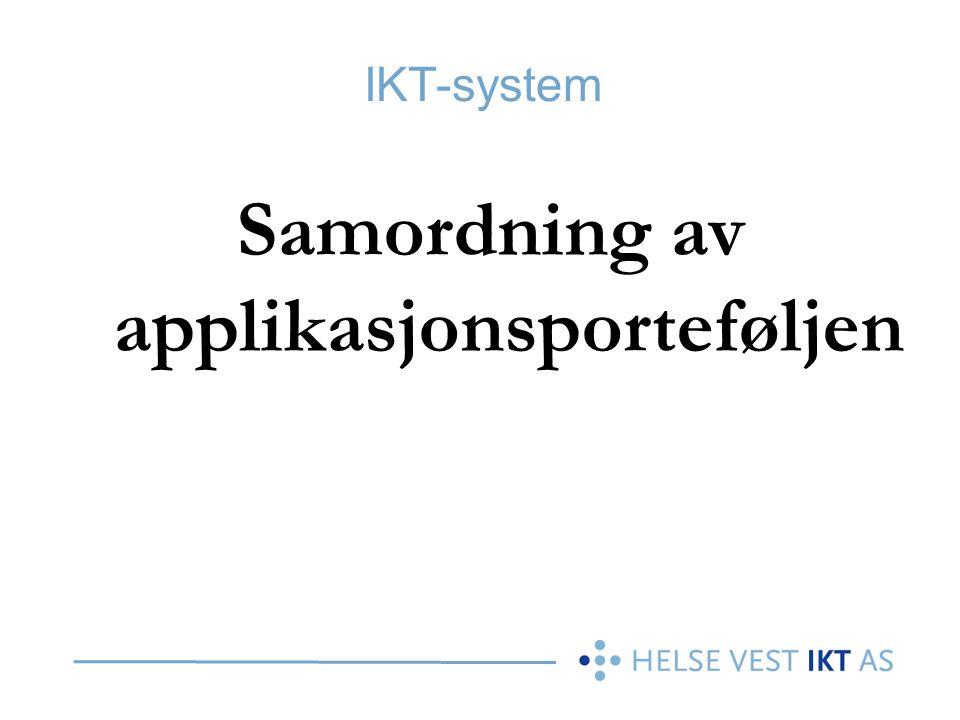 IKT-system Samordning av applikasjonsporteføljen