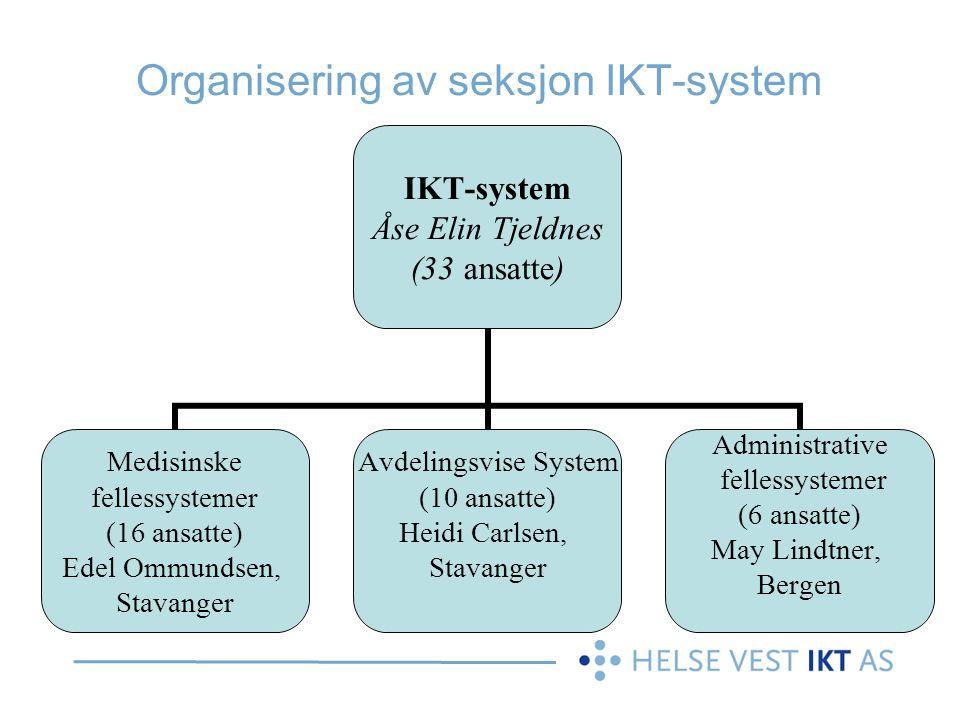 IKT-system Åse Elin Tjeldnes (33 ansatte) Medisinske fellessystemer (16 ansatte) Edel Ommundsen, Stavanger Avdelingsvise System (10 ansatte) Heidi Car
