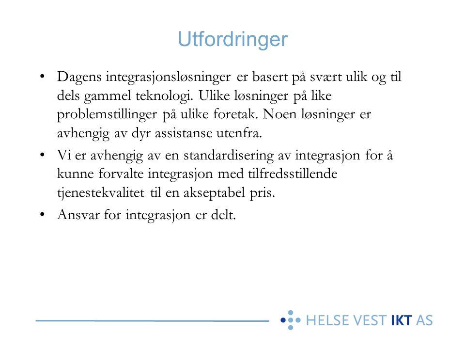 Utfordringer Dagens integrasjonsløsninger er basert på svært ulik og til dels gammel teknologi. Ulike løsninger på like problemstillinger på ulike for