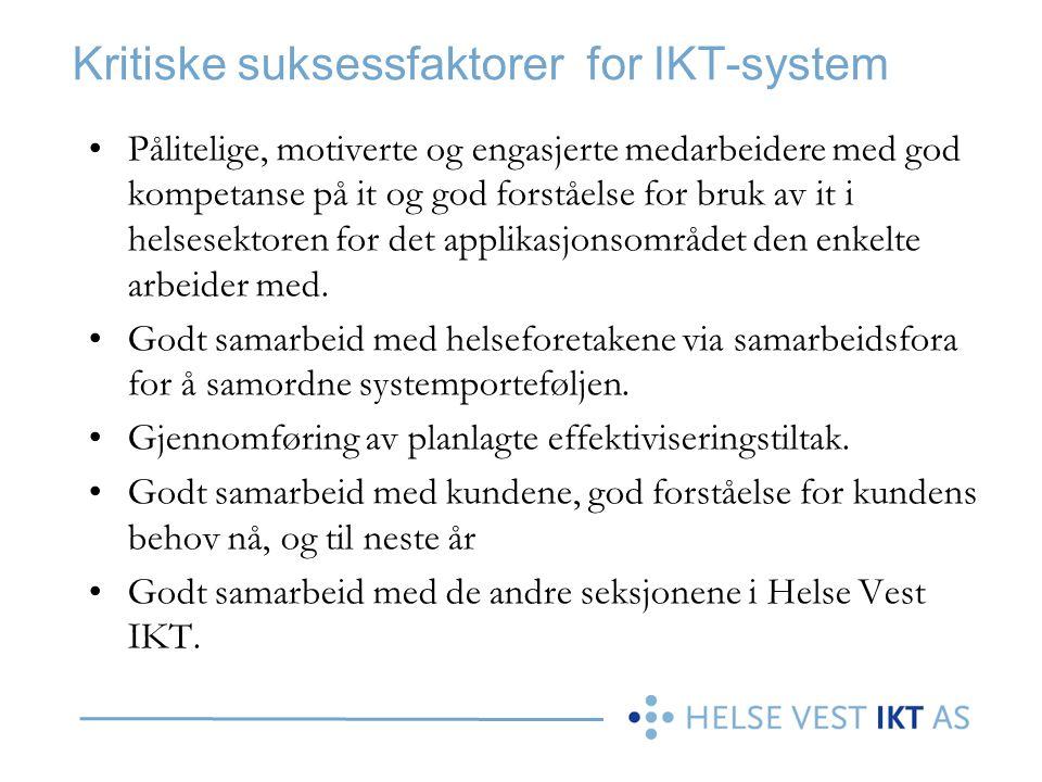 Kritiske suksessfaktorer for IKT-system Pålitelige, motiverte og engasjerte medarbeidere med god kompetanse på it og god forståelse for bruk av it i h