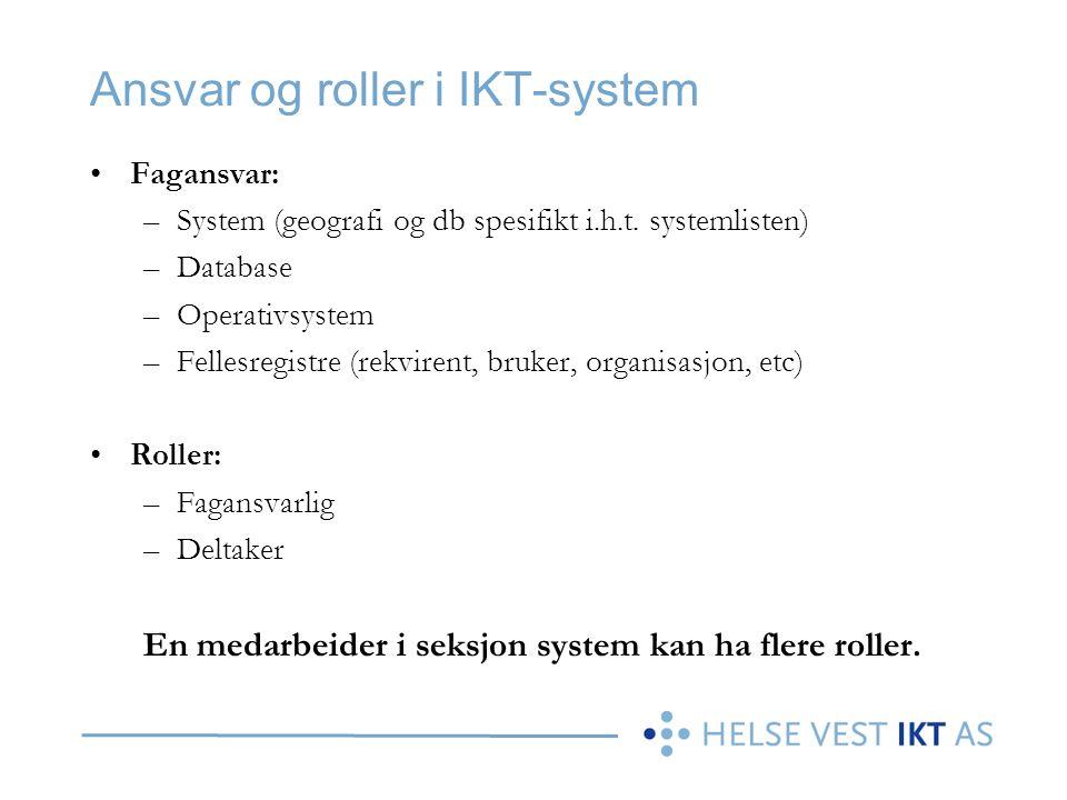 Ansvar og roller i IKT-system Fagansvar: –System (geografi og db spesifikt i.h.t. systemlisten) –Database –Operativsystem –Fellesregistre (rekvirent,
