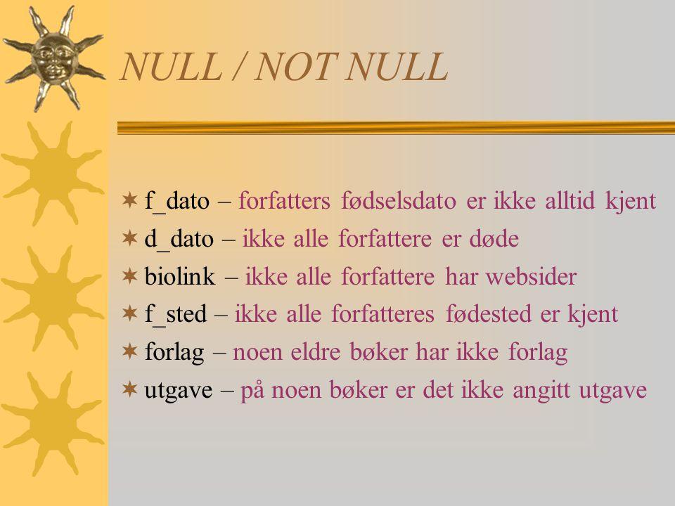 NULL / NOT NULL  ISBN – ikke alle bøker har isbn-nummer  bildeoid(bok) – ikke alle bøker har bilde av forsiden  bildeoid(forfatter) – det er ikke b