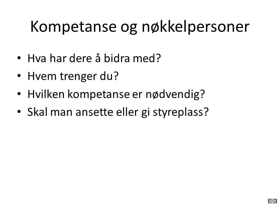 Kompetanse og nøkkelpersoner Hva har dere å bidra med? Hvem trenger du? Hvilken kompetanse er nødvendig? Skal man ansette eller gi styreplass?
