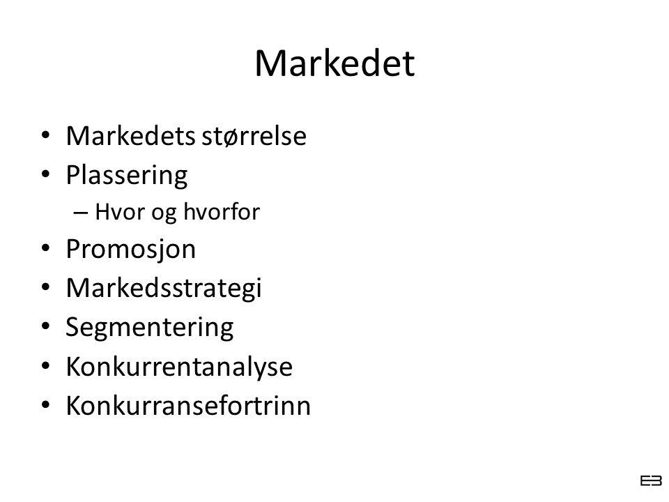 Markedet Markedets størrelse Plassering – Hvor og hvorfor Promosjon Markedsstrategi Segmentering Konkurrentanalyse Konkurransefortrinn