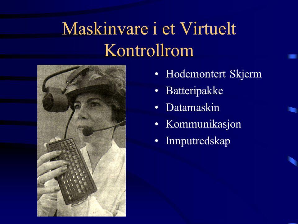Maskinvare i et Virtuelt Kontrollrom Hodemontert Skjerm Batteripakke Datamaskin Kommunikasjon Innputredskap