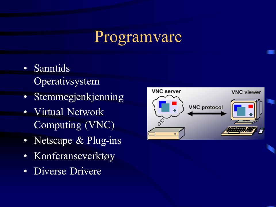 Programvare Sanntids Operativsystem Stemmegjenkjenning Virtual Network Computing (VNC) Netscape & Plug-ins Konferanseverktøy Diverse Drivere